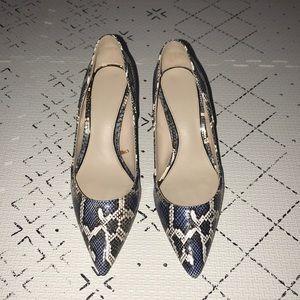 Blue Snake Print Heels